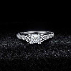 Vintage Celtic Knot Princess Cut Engagement Ring